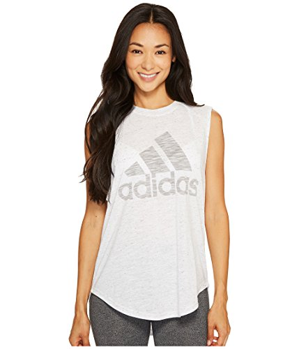 (adidas Women's Winner Muscle Tank Top White/MGH Solid Grey Tank Top)