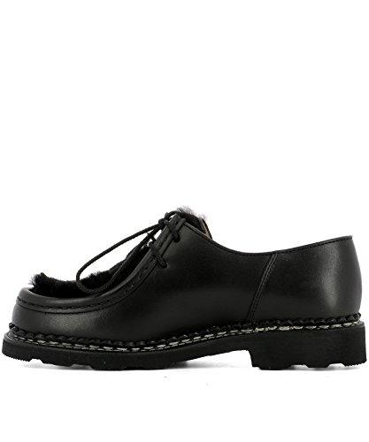 130473BLACK Cuero Mujer Negro De Paraboot Cordones Zapatos URTqFwx