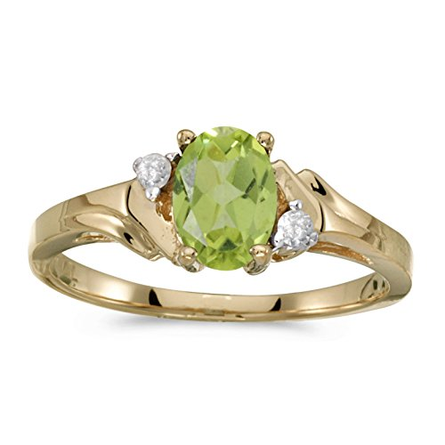 FB Jewels 14k Yellow Gold Genuine Green Birthstone Solitaire Oval Peridot And Diamond Wedding Engagement Statement Ring - Size 9.5 (2/3 Cttw.) ()