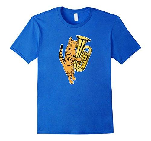 Playing Tuba - Mens Cat Playing Tuba T-shirt Cool Musician Marching Band XL Royal Blue