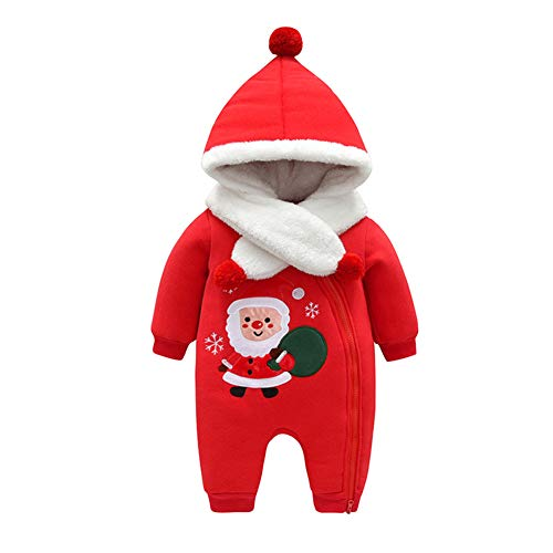 Fairy Baby Infant Unisex Christmas Costume Outfit Romper Winter Thick Outwear with Scarf Size 3-6M (Red)]()