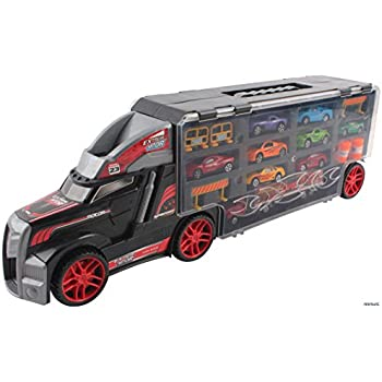 memtes car carrier transport truck toy for kids includes 8 metal cars 1 truck and accessories
