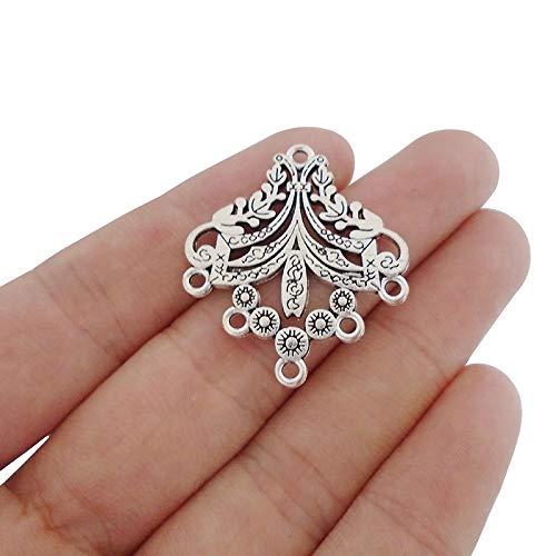 FidgetFidget 20pcs Antique Silver Earring Chandelier Connectors Charms Pendants Double Sided