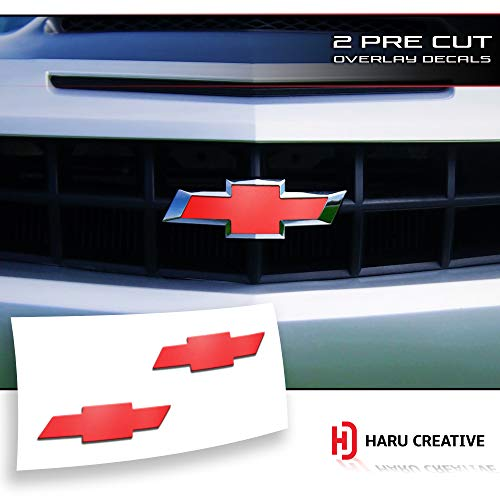 (Haru Creative - Front Hood Grille Tailgate Bumper Trunk Bowtie Emblem Overlay Vinyl Decal Compatible Fits Chevy Chevrolet Camaro 2010-2013 - Matte Green)
