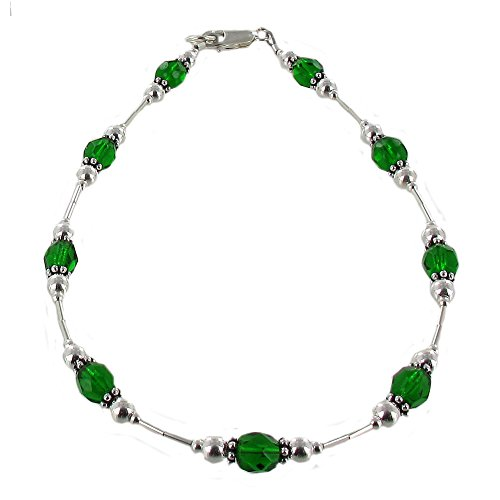 Womens Emerald Green Czech Fire Polished Glass & Sterling Silver Ladies Beaded Anklet with Daisies - 9