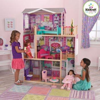 "Kidkraft Elegant Playhouse for 18"" Dolls, 12-pc of Jumbo Doll Furniture"