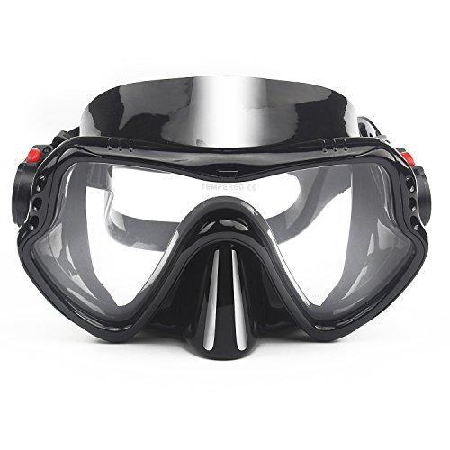 To Max Diving Mask, Professional Adult Scuba Mask Tempered Glass Single Lens Mask for Maximum Vision Black