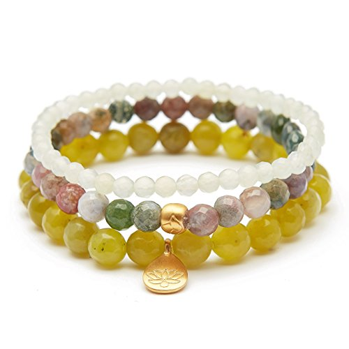 Satya Jewelry Women's Olive Jade Fancy Jasper New Jade Gold Lotus Stretch Bracelet Set, Green, One Size by Satya Jewelry