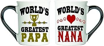 Tumbleweed - World's Greatest Papa & World's Greatest Nana - Set Of Two Large 18 Ounce Coffee Cups - Nana Gifts - Papa Gifts