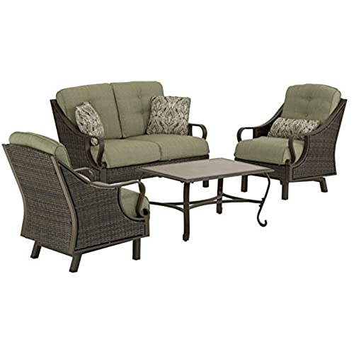Hanover VENTURA4PC Ventura 4 Piece Indoor/Outdoor Lounging Set, Includes  Wicker Loveseat, 2 Lounge Chairs And Coffee Table