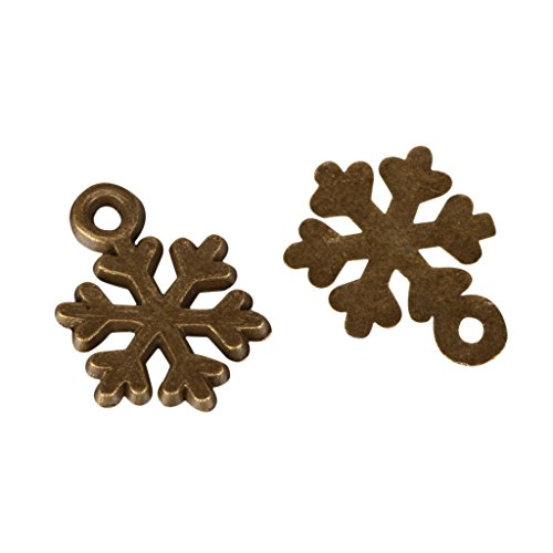 20 x Snowflake Charms 10mm Antique Bronze Tone for Bracelets Necklaces Earrings #MCZ390