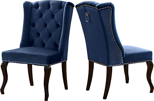 """Meridian Furniture 772Navy-C Suri Collection Modern   Contemporary Velvet Upholstered Dining Chair, Wood Legs, Luxurious Button Tufting, Nailhead Trim, Set of 2, 23"""" W x 26"""" D x 41"""" H, Navy"""