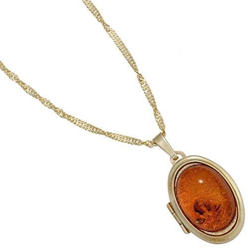 Médaillon à ouvrir-pendentif en or 333 bernstein ovale amulette pour femme