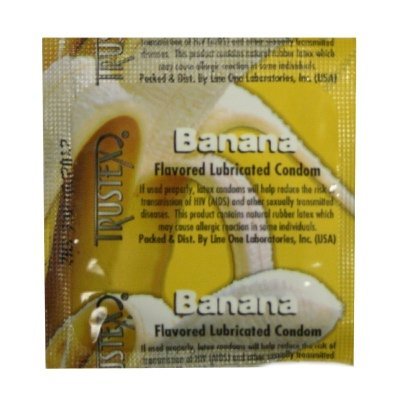 Trustex Banana Flavor Lubricated: 100-Pack of Condoms (Lubricated Condoms Banana Trustex Flavor)