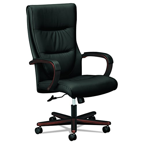 HON Topflight Executive Leather Chair - High-Back Office Chair for Computer Desk, Black/Mahogany - Mahogany Chair High