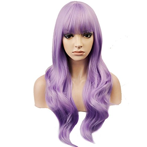 Synthetic Wig with Straight Bangs for Women Girls Wig Cap Included (Lavender Purple) ()