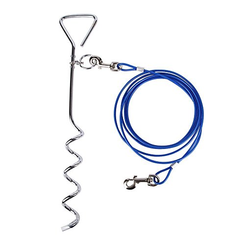 Petphabet Dog Stake with Tie Out Cable, 16 Inch Stake with 20-Feet Tie-out Cable Heavy Duty for Small to Medium Dogs to Play ... (20 Feet (For 80LB Dog), Blue)