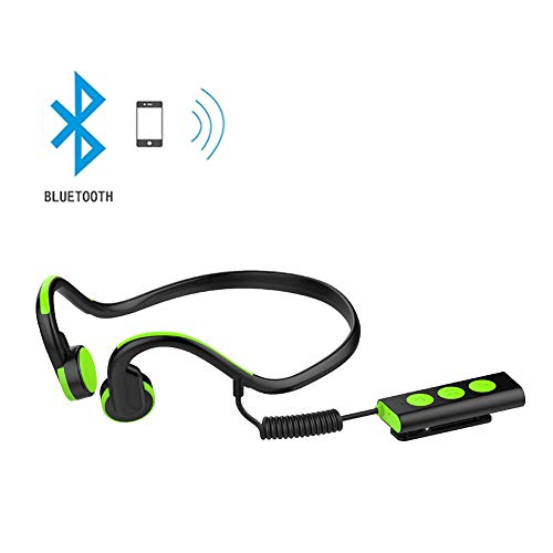YMXLJJ 4.1 Bluetooth Headset Bone Conduction Hearing Aid Headphones Stereo Open Binaural Headphones Portable Waterproof Khan Compatible All Bluetooth Devices,Green Bluetooth Headsets Hearing Aids