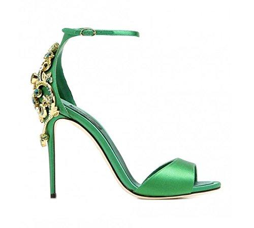 Sandalias Ankle Bomba Mujeres Toe Atmósfera Strap Patrón Verano Alto Peep 2017 Nueva Green Moda Talón Diamante Noble BwIZIrEqU