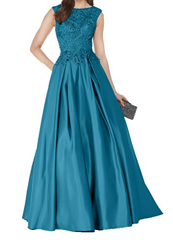 Abendkleider Partykleider Lang Satin Spitze Fuer Tuerkis Brautmutterkleider Damen Hochzeits Mutterkleider Charmant qB6w8z