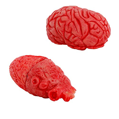 Halloween Haunters Realistic Severed Human Brain and Heart Prop Costume Decoration - Scary Life Size Flexible Latex Rubber Fake Body Organs - Carry Bloody Exposed Zombie Parts - Haunted House -