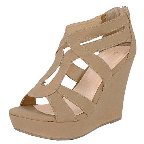 Top Moda Women's Strappy Open Toe Platform Wedge,10 B(M) US,Tan… ()