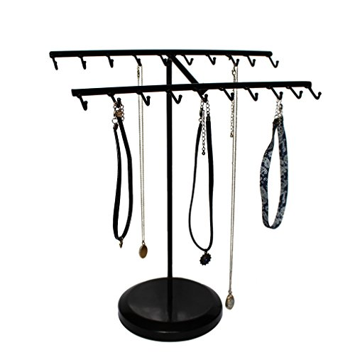 20 Hook Jewelry Organizer Rack By Kurtzy - Suitable For Hanging Or Displaying Bracelets, Necklaces, Rings And More - Great Gift For Girls and Women (Vintage Black Sailor Girl Nose)