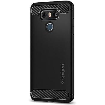 Spigen Rugged Armor LG G6 Case / G6 Plus Case with Resilient Shock Absorption and Carbon Fiber Design for LG G6 / G6 Plus (2017) - Black