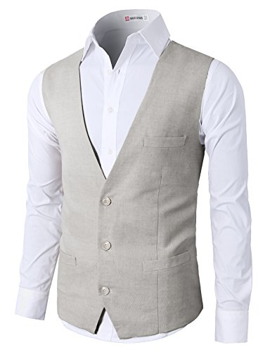 H2H Men's Three Buttons Casual Skinny Business Suit Vest Waistcoat LightGray US M/Asia L (CMOV039)