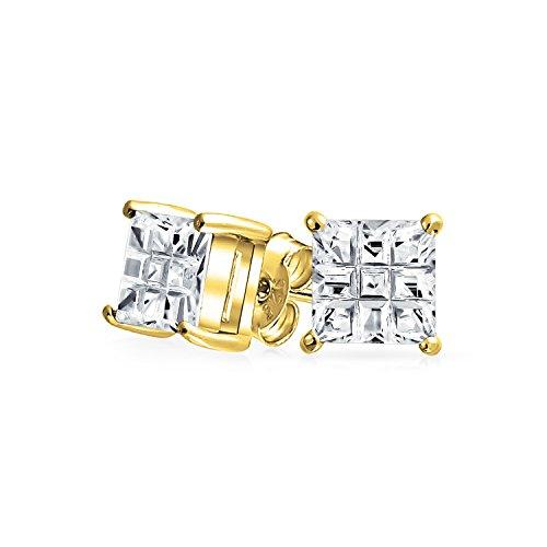 Bling Jewelry Boucles d'oreille carrées style solitaire coloré en Plaqué Or Rose ou argent pour homme