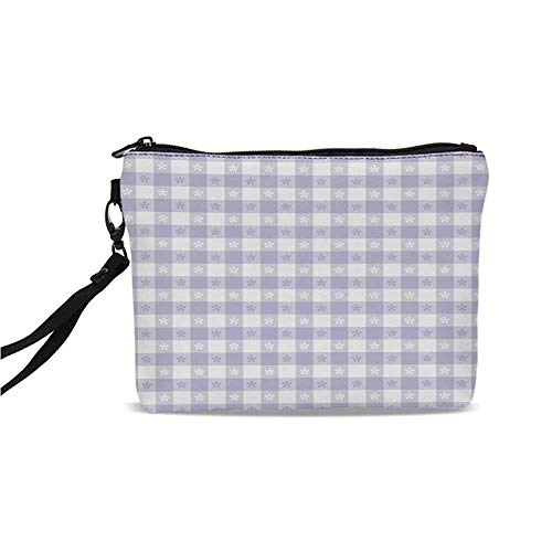 Lavender Simple Cosmetic Bag,Pastel Colored Classic Gingham Check Pattern with Delicate Small Blossoms Decorative for Women,9