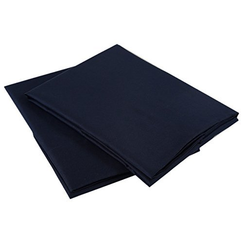 Cottington Lane King Size 20x40 inches Pillowcases Navy Blue Solid 400 TC Egyptian Cotton Pillowcovers