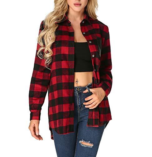 - ZANZEA Flannel Plaid Buffalo Check Shirt Button Down Long Sleeve Pocket Tops Plus Size for Women Red S