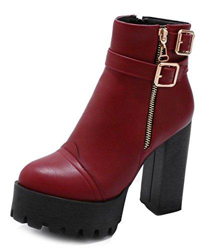 Plateforme Low Boots Rouge Bloc Talon Femme Haut Bottines Aisun Fashion SwH7qanxf
