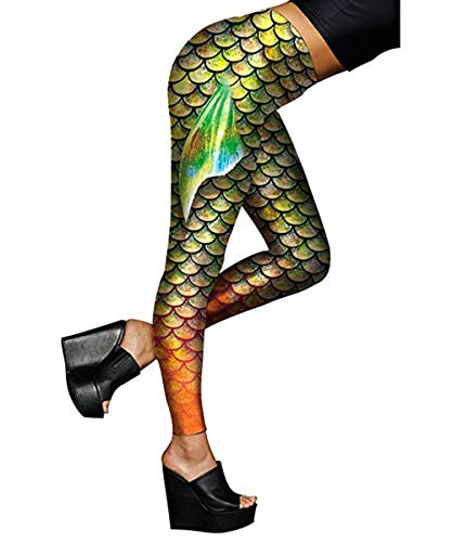 Ladies Mermaid Full Length Leggings with Fish Scale Pant Plus Size Light Green XL