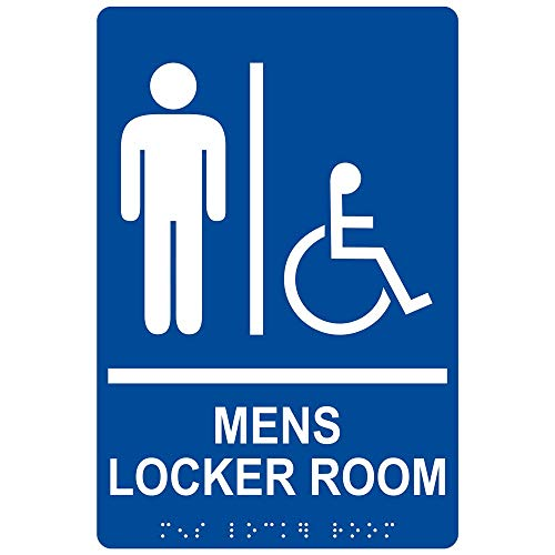 (Mens Locker Room Sign, ADA-Compliant Braille and Raised Letters, 9x6 in. White on Blue Acrylic with Adhesive Mounting Strips by ComplianceSigns)