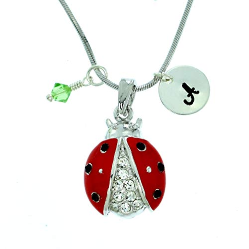 Personalized Ladybug Red Pendant Sparkling Crystals Custom Necklace Hand Stamped Initial Letter and Birthstone Charms Chain Gift Jewelry