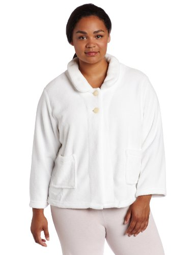 Casual Moments Women's Plus Size Bed Jacket-Peter Pan Collar, White, 1X (Pan Jacket Peter Collar)
