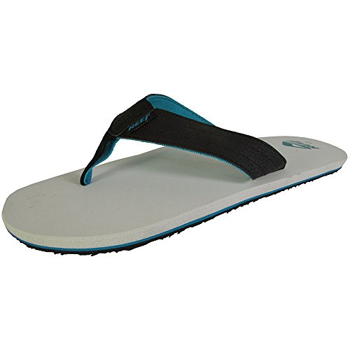 Reef Thongs Bottle Opener (Reef Mens Quencha TQT Thong Flip Flop Sandal Shoes, Black/Grey, US 7)