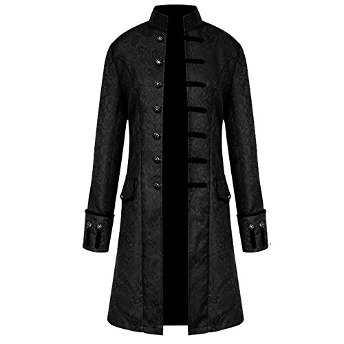 H&ZY Men Steampunk Vintage Jacket Halloween Costume Retro Gothic Victorian Frock Coat Uniform Black]()