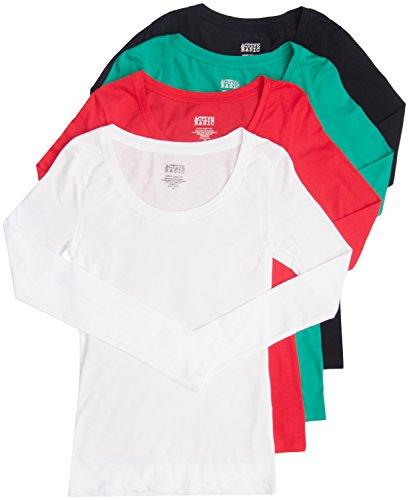4 Pack Active Basic Women's Scoop Neck Top Med Black, White, Green, Red