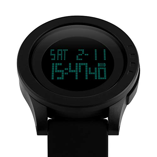 Mens Digital Sports Watch Military Wristwatch Dual Time Waterproof Casual Stopwatch Timer Athletic Workout Black