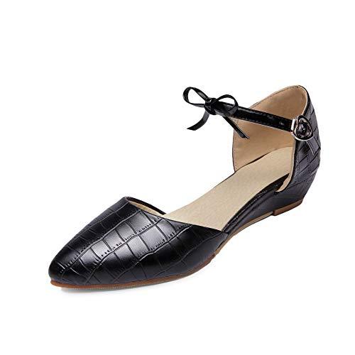 Légeres Couleur Femme Unie Bas Noir Talon Cuir De Chaussures À Tsfdh004029 Surface Aalardom CfqSp