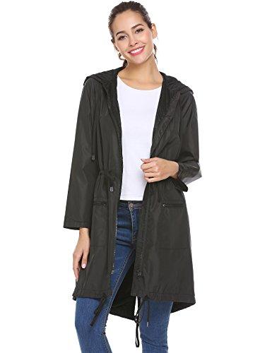 FineFolk Women's Versatile Militray Anorak Parka Hoodie Waterproof Jackets With Drawstring