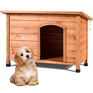Tangkula Dog House, Outdoor Weather-Resistant Wooden Log Cabin, Home Pet Furniture, Pet House with Adjustable Feet & Removable Floor, Pet Dog House 32