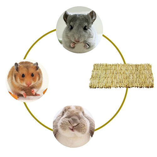 ULIGOTA Natural Woven Hay Mat for Rabbit Hamster Chinchilla Cage Bedding, Chew Toy for Guinea Pig Chinchilla Hamster - 3 Pack by ULIGOTA (Image #5)