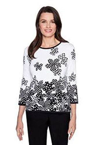 Alfred Dunner Women's Petite Floral Dot Border Sweater, Black/White, PXL