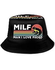 Milf Man I Love Frogs Bucket Hat Fisherman's Hat Summer Autumn Outdoor Packable Hat Beach Travel Sun Hat Black