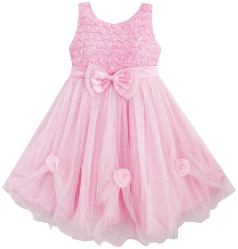 Sunny Fashion Girls Dress Pink Rose Pageant Tull Wedding Boutique Size - Sunnies Pink