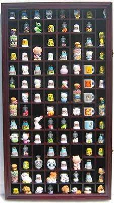 100 Thimble Display Case Wall Cabinet Holder Shadow Box, with Real Glass Door and Felt Interior Background-Mahogany Finish (TC100-MAH) ()